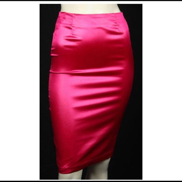 92116a0a033b75 Dolce & Gabbana Skirts | Dolce Gabbana Pink Satin Pencil Skirt ...